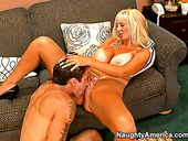 Blonde cutie Brittany O'Neil gives blowjob and gets her pussy licked