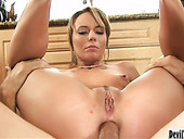 Whorish light haired nympho with small tits takes a strong dick into her anus