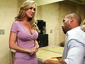 Busty blonde MILF Brandi Love gives her man a fantastic blowjob