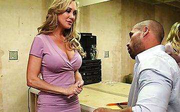 Busty blonde MILF Brandi Love gives her man a fantastic blowjob
