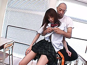 Bald headed teacher licks and tickles the hairy pussy of nasty student Ibuki