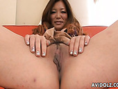 Cheerful Japanese hussy gets her brownish labia finger fucked