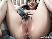 Salacious Japanese whores gets her bald pussies poked with dildo