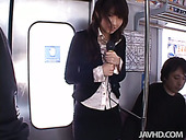 Japanese girl MISATO KUNINAKA gets her pussy explored in the bus