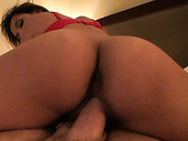 Exotic big ass brunette Jessie rides cock and fucked doggystyle.