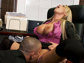Horny boss Nikki Benz gives a hot blowjob alone with a titjob to the employee