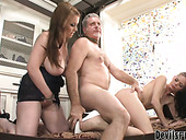 Mature chubby dude rocks two gorgeous pussies on threesome