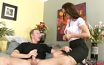 Horny librarian is sucking dick furiously