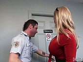 Busty blonde seductress gives hot blowjob to horny mechanic