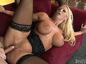 Busty porn slut is getting rammed bad in her cunt from behind
