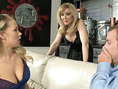 Busty blonde chicks take turns sucking one guy's dick