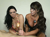 Busty chicks take part in hot threesome action