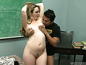 Lustful blonde teacher gets her juicy pussy licked hard by her student