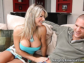 Naughty blonde hoe Vicky Vette with huge fake boobs shows her talents in sucking dick deepthroat