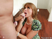 Hungry for cock mom Darla Crane greedily sucks hard dick