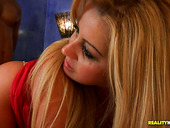 Juggy blond milf Micheli Couto gives a head while tickling her clit