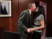 Flat breasted chic Lyla Storm gives a head to her boss in office