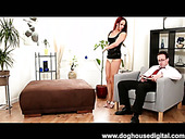 Red haired slim and tall nympho from Britain sucks a dick while having threesome