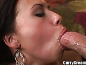 Saucy hottie from India rides huge white cock and gets mouthful