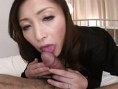Sextractive mature Miyama Ranko gives a head in pov sex video