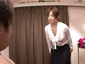 Lewd and hot Japanese chick Meguru Kosaka undresses and provides a dick with hadjob